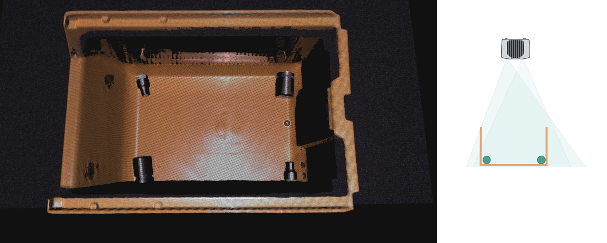 Occlusion with a Zivid camera - a smaller baseline camera