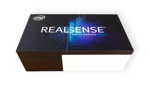An Intel RealSense box used for bin-picking 3D example