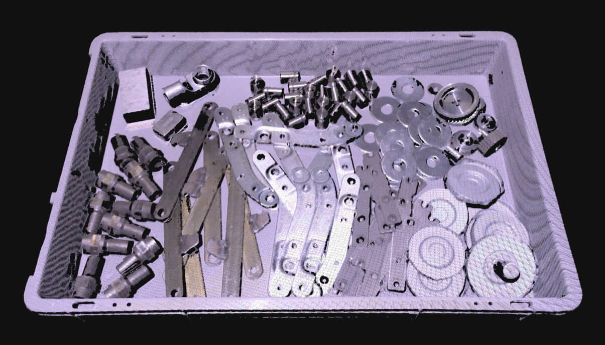 Image shows metal parts and cylinders in a bin captured by Zivid for picking applications
