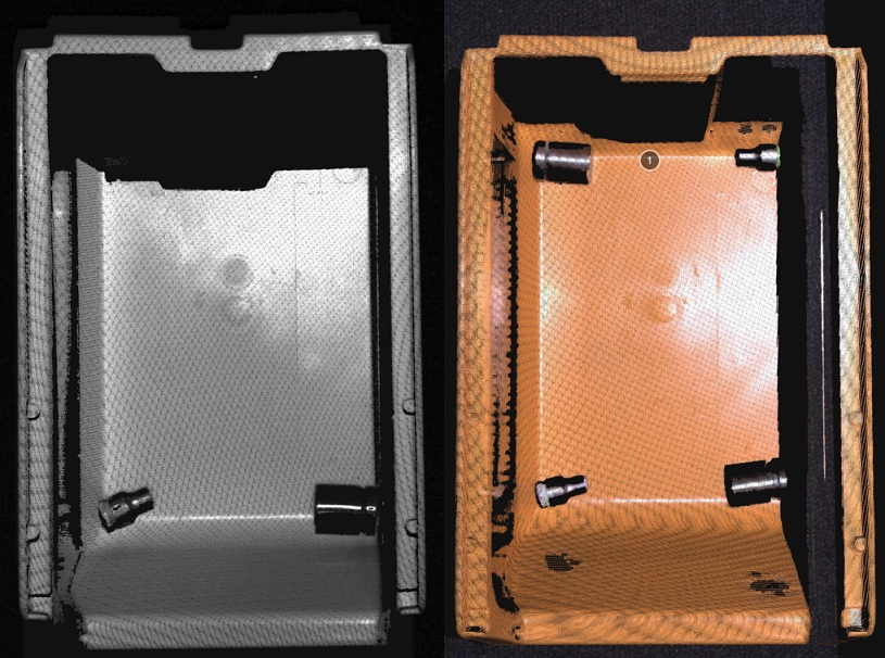 To avoid occlusion from e.g. laser sensor, Zivid sensors have a small baseline to secure full bin point cloud